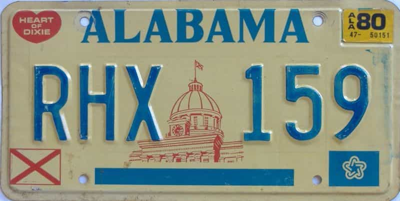 1980 Alabama license plate for sale