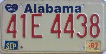 1987 Alabama license plate for sale