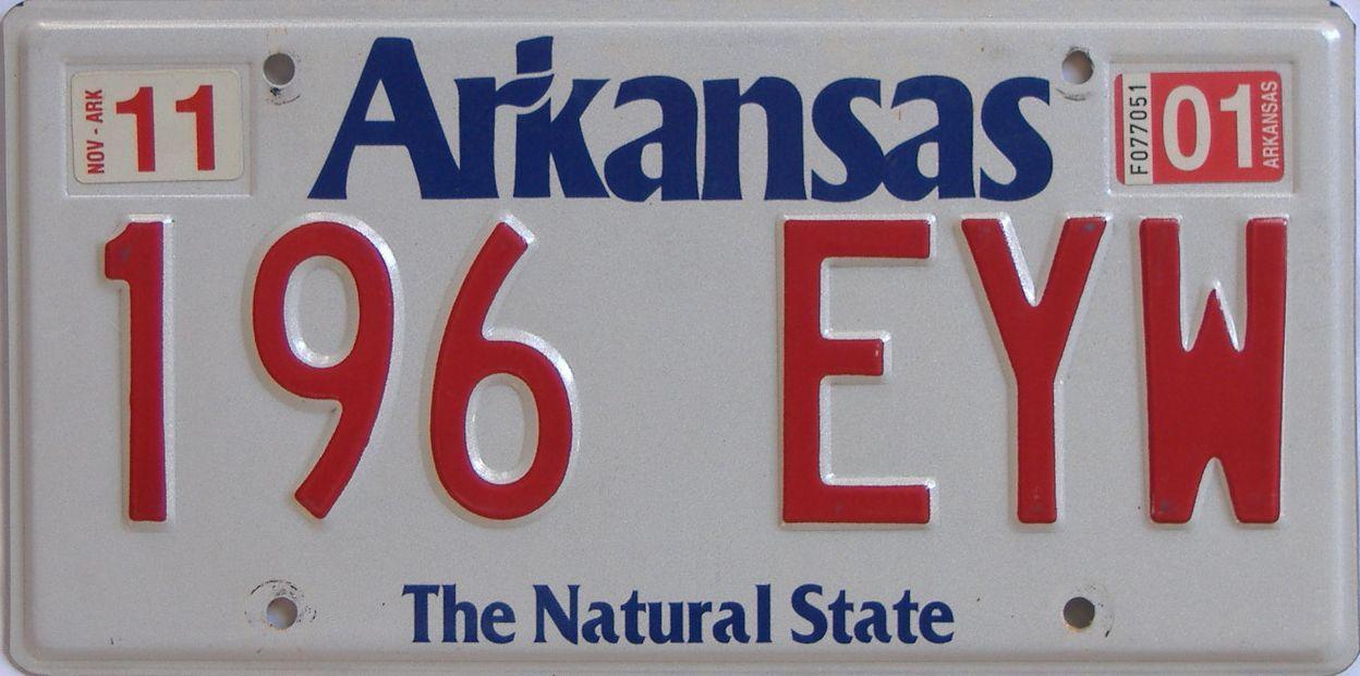 2001 Arkansas license plate for sale