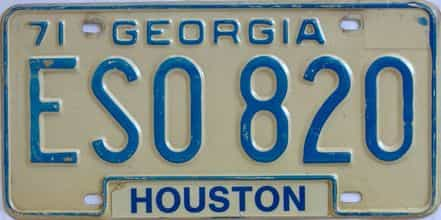 YOM 1971 Georgia YOM 1971 - 1989 license plate for sale