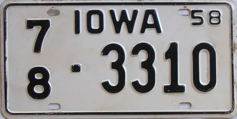 1958 Iowa (Single) license plate for sale