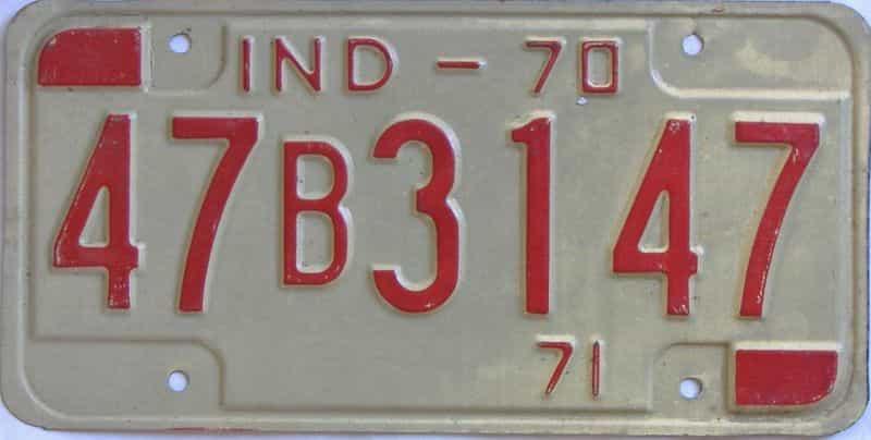 1970 Indiana license plate for sale