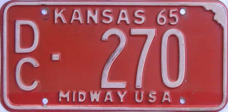 1965 KS license plate for sale