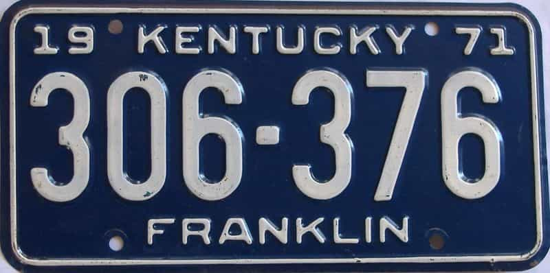 1971 KY license plate for sale