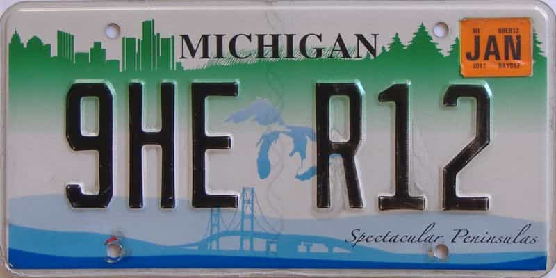 2011 MI license plate for sale