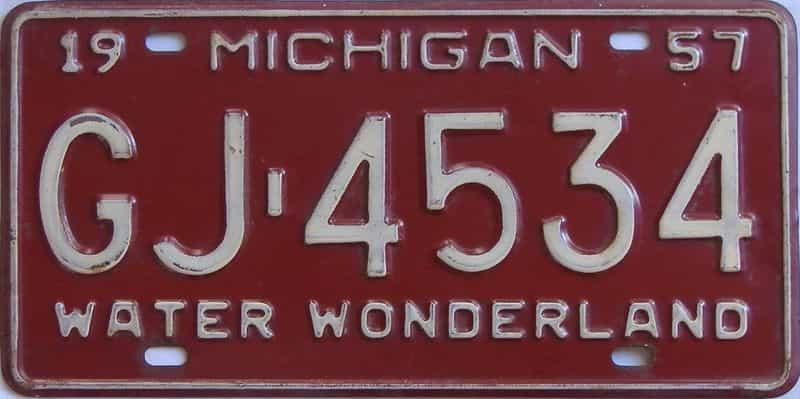 1957 MI (Single) license plate for sale