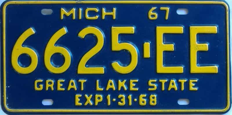 1967 MI (Truck) license plate for sale