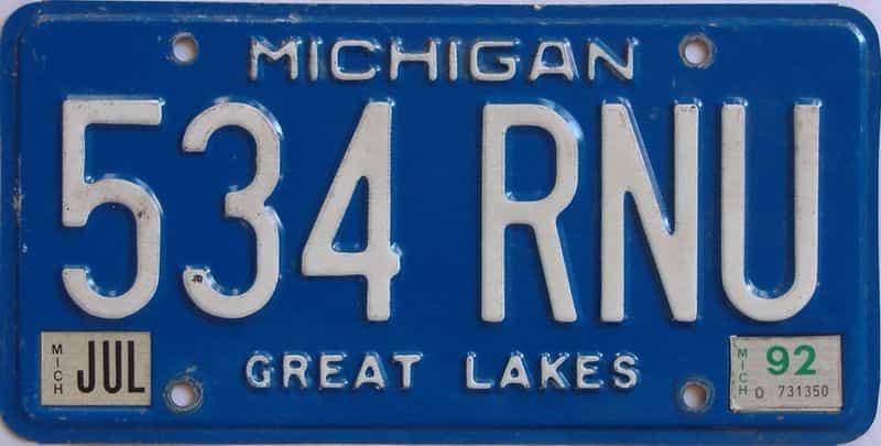 1992 MI license plate for sale