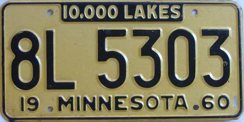 1960 Minnesota  (Single) license plate for sale