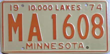 1974 Minnesota (Single) license plate for sale