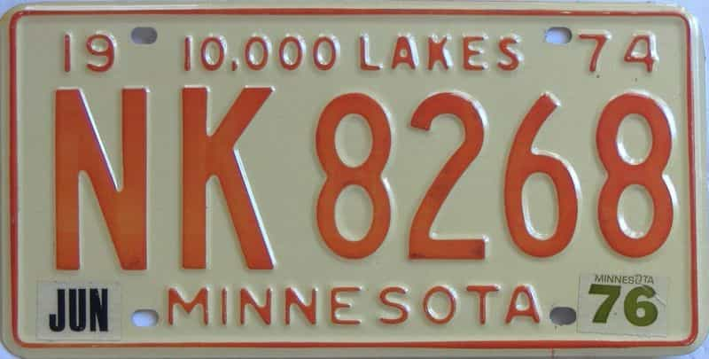 1976 MN (Single) license plate for sale