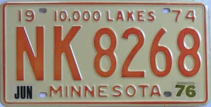 1976 Minnesota (Single) license plate for sale