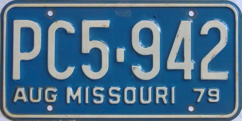 1979 Missouri  (Single) license plate for sale