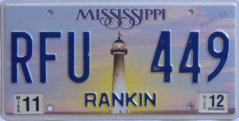 2012 Mississippi (Natural) license plate for sale