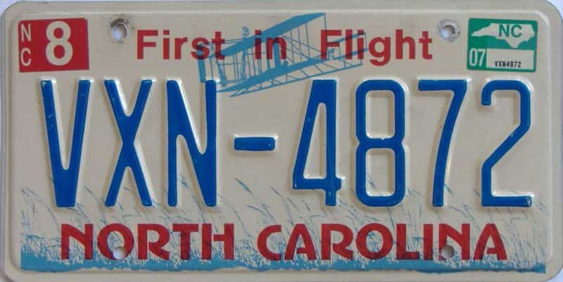 2007 NC license plate for sale