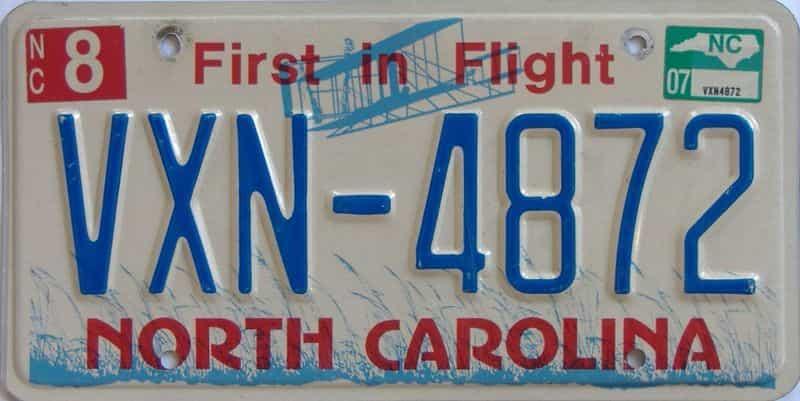 2007 North Carolina license plate for sale