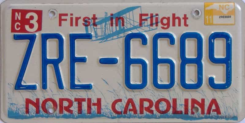 2011 NC license plate for sale