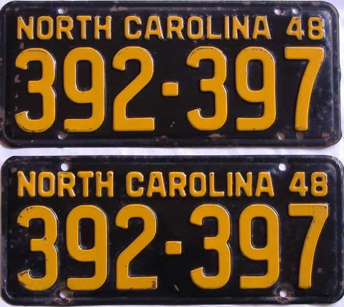 1948 North Carolina (Pair) license plate for sale