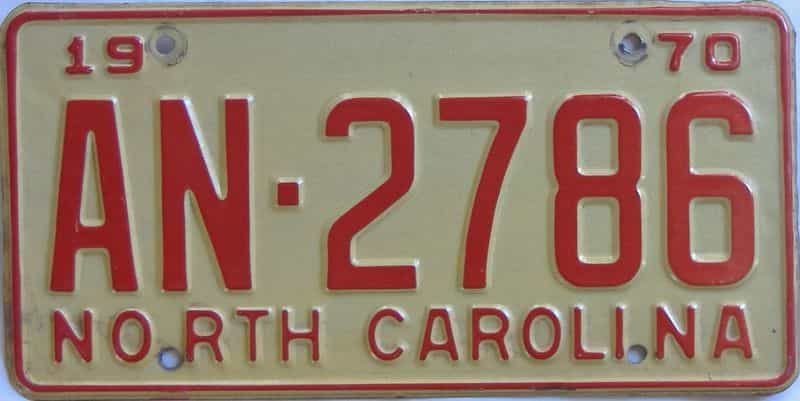 1970 North Carolina license plate for sale
