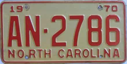 1970 North Carolina license plate for sale