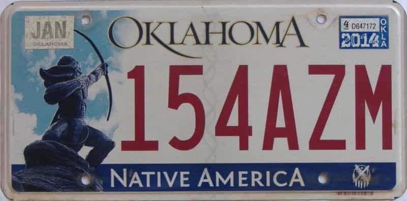 2014 OK (Natural) license plate for sale