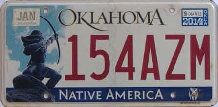 2014 Oklahoma (Natural) license plate for sale