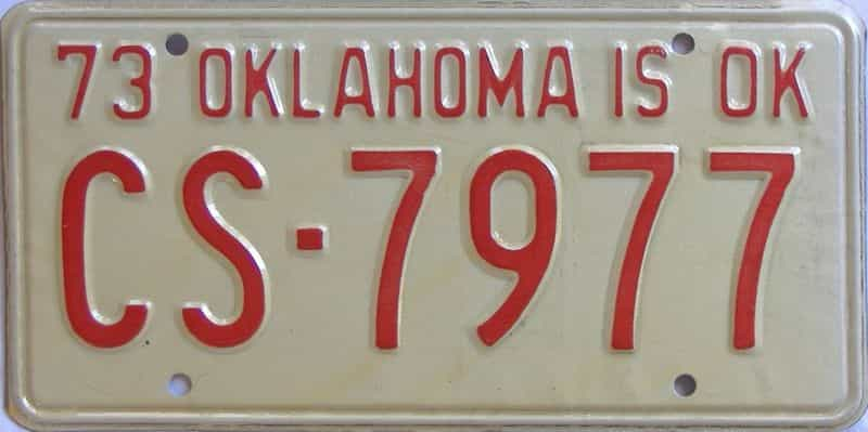 1973 OK license plate for sale
