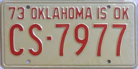 1973 Oklahoma license plate for sale