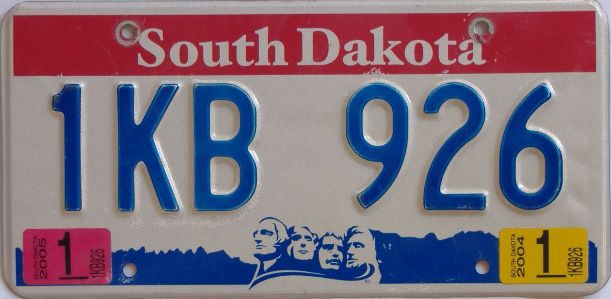 2004 SD (Natural Single) license plate for sale