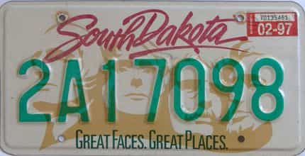 1997 South Dakota (Single) license plate for sale