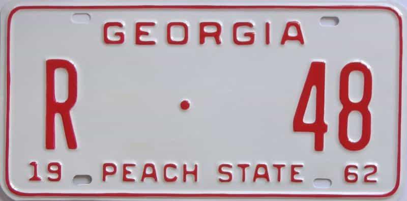 YOM RESTORED 1962 GA license plate for sale