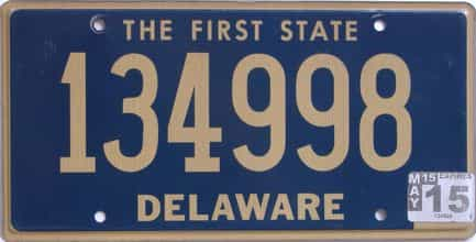 2015 Delaware license plate for sale