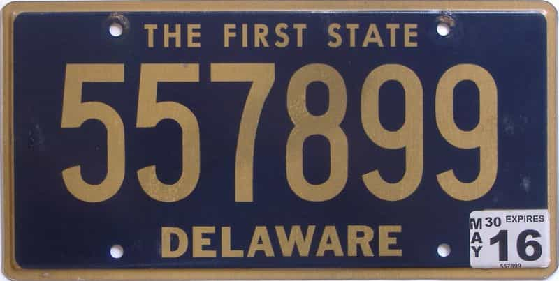 2016 Delaware license plate for sale