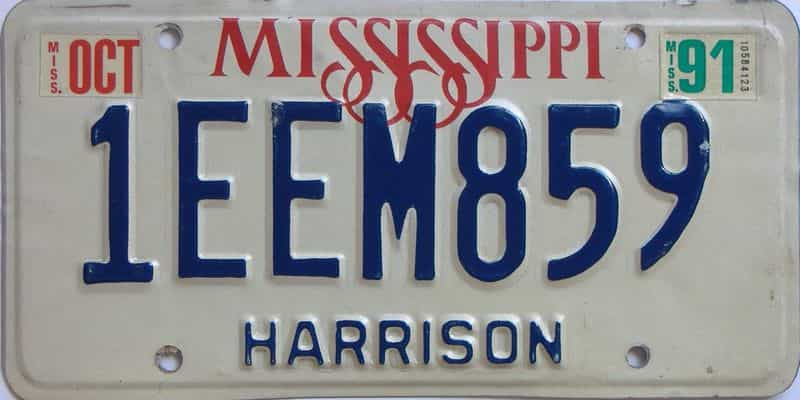 1991 Mississippi license plate for sale