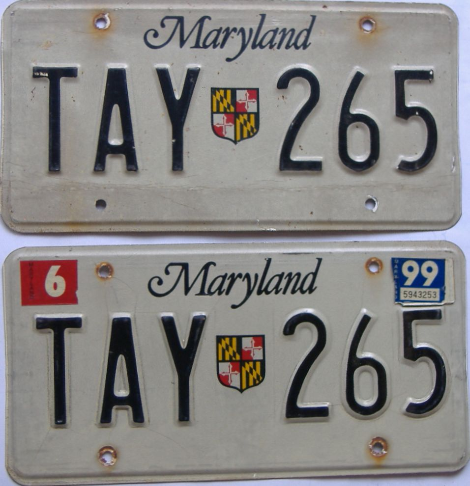 1999 Maryland (Pair) license plate for sale