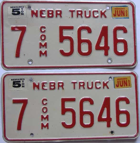 2002 Nebraska (Truck) license plate for sale