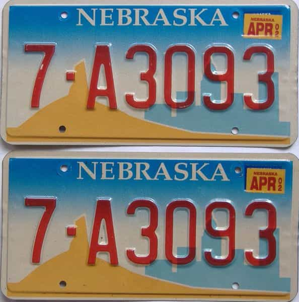 2002 NE (Pair) license plate for sale
