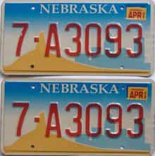 2002 Nebraska (Pair) license plate for sale
