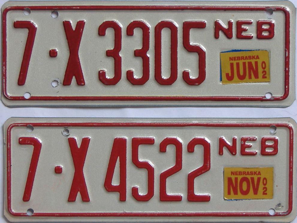2002 Nebraska (Trailer) license plate for sale
