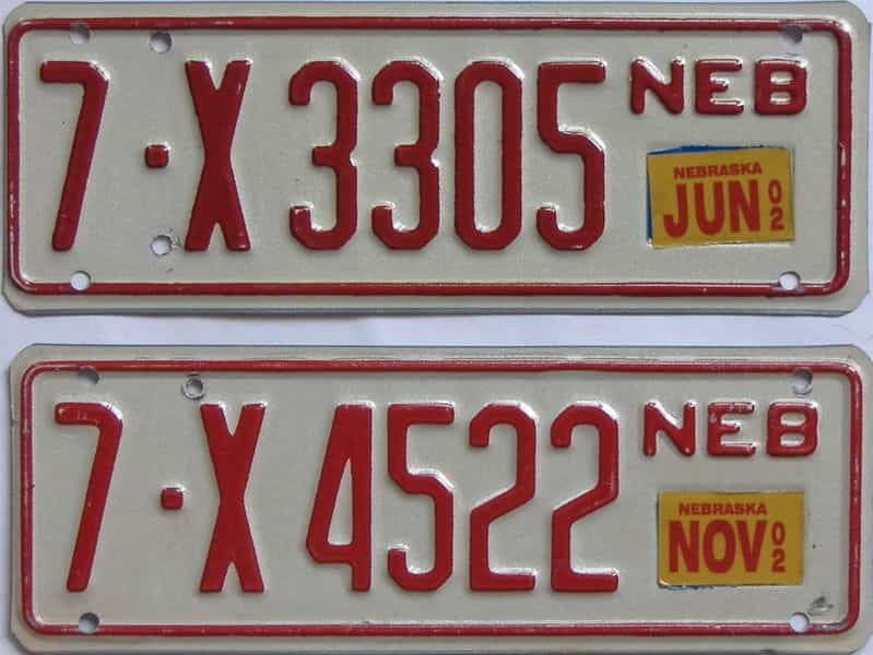 2002 NE (Trailer) license plate for sale