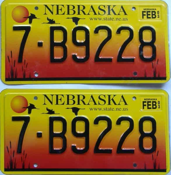 2003 NE (Pair) license plate for sale