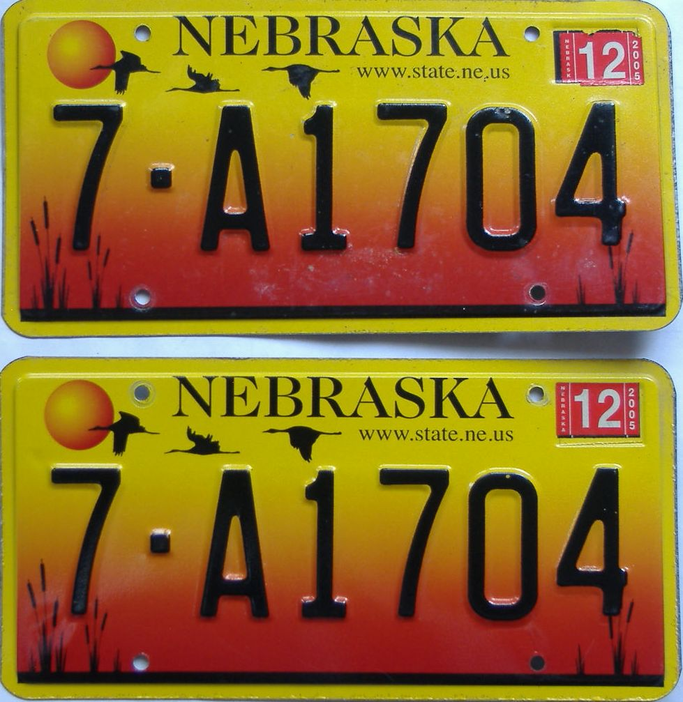 2005 Nebraska (Pair) license plate for sale