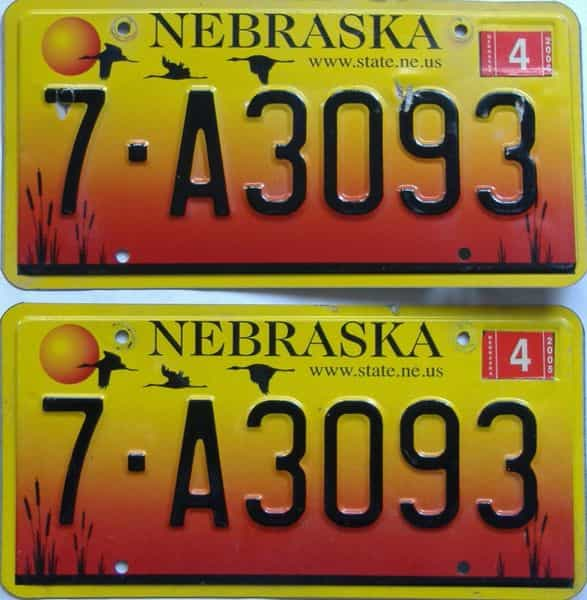 2005 Nebraska (Pair) license plate for sale