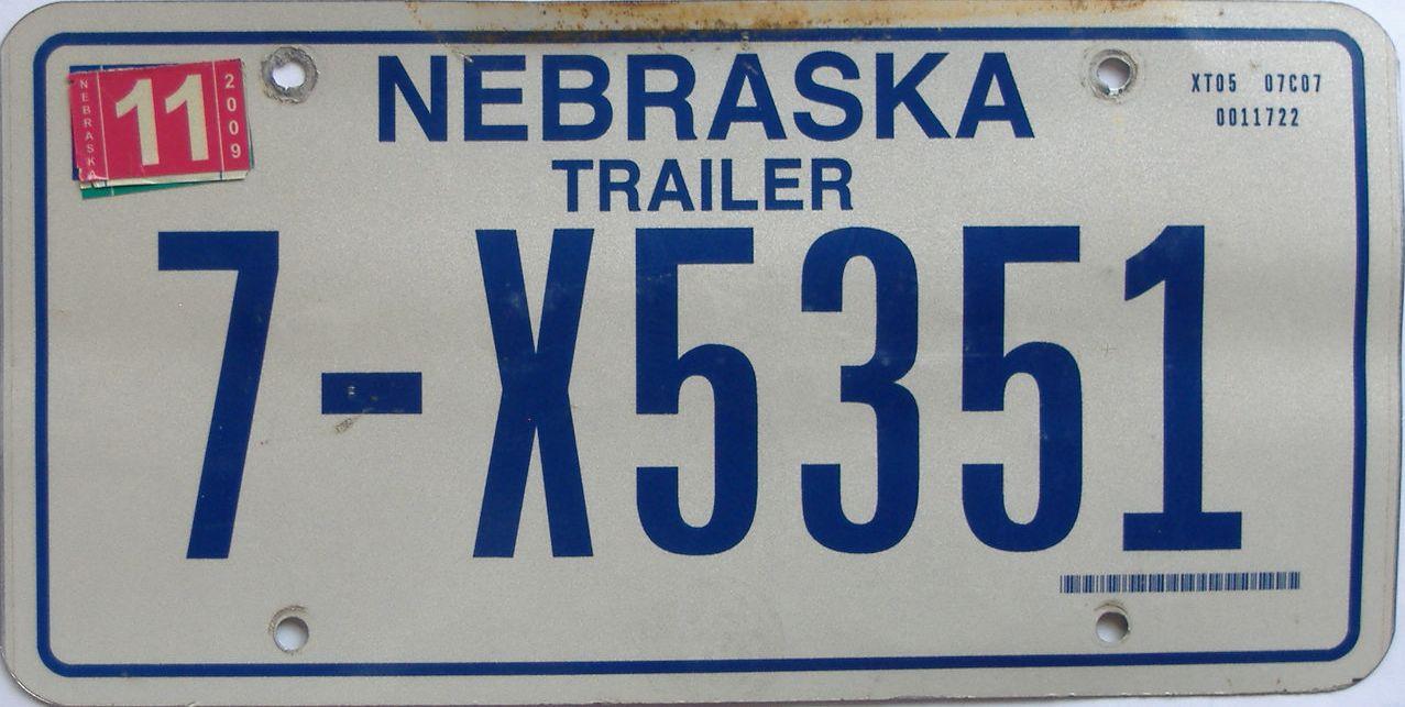 2009 Nebraska (Trailer) license plate for sale
