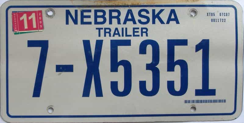 2009 Nebraska  (Trailer) license plate for sale