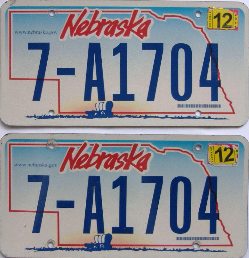 2011 Nebraska (Pair) license plate for sale