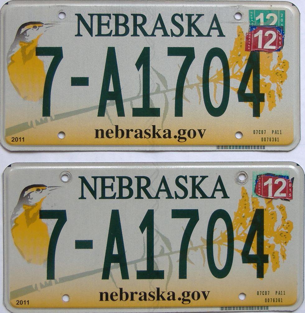 2015 Nebraska (Pair) license plate for sale