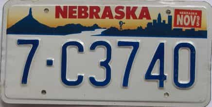 1995 Nebraska (Single) license plate for sale