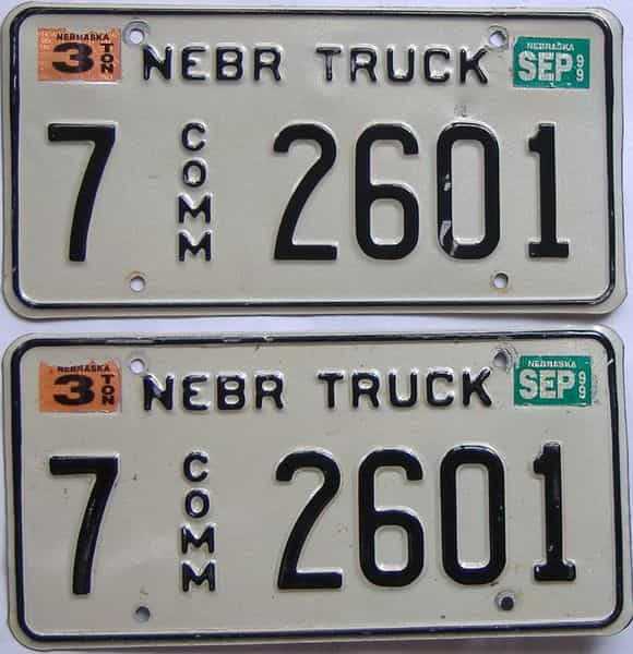 1999 NE (Truck) license plate for sale