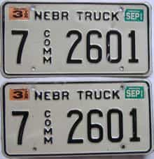 1999 Nebraska (Truck) license plate for sale